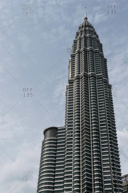 Kuala Lumpur, Malaysia - July 10, 2015: Upward view of Petronas Towers in Kuala Lumpur, Malaysia