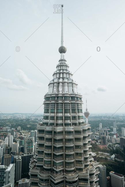 Kuala Lumpur, Malaysia - July 10, 2015: The top of Petronas Towers in Kuala Lumpur, Malaysia