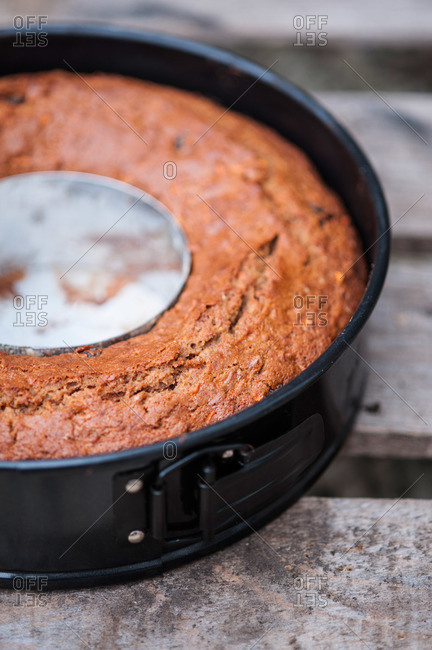 Fresh baked bundt cake in a springform pan