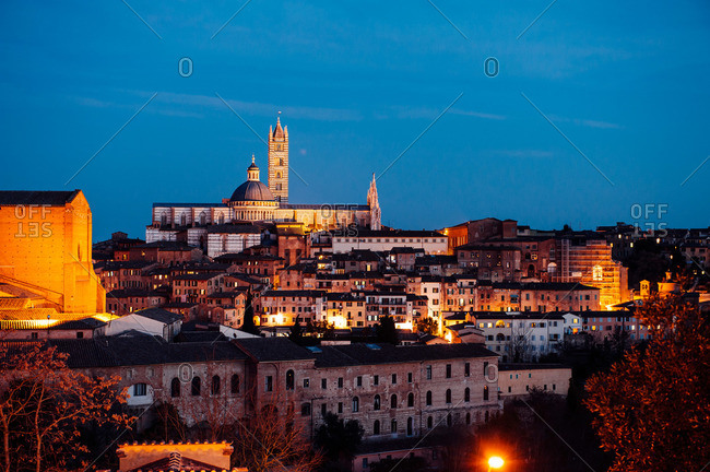 Siena cityscape at night