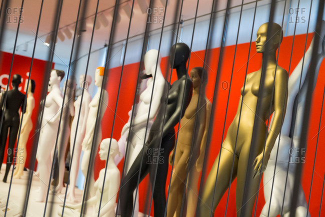 Nude mannequins in a museum display