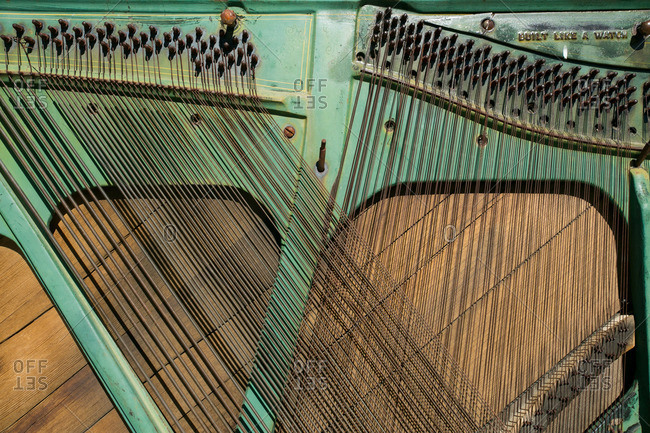 Strings in an old piano