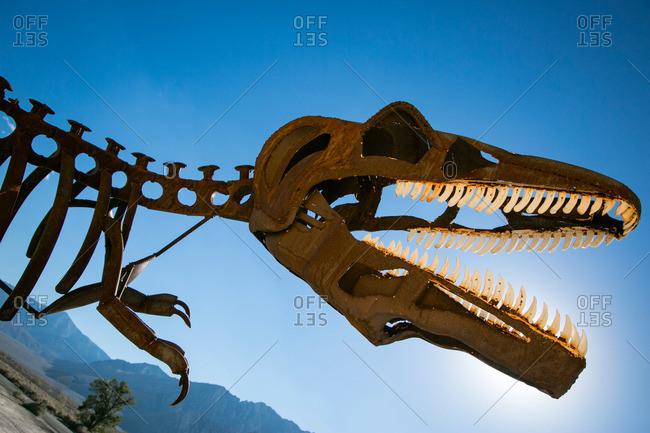 Sierra Nevada, California, USA - October 3, 2015: Metal tyrannosaurus rex skeleton in California