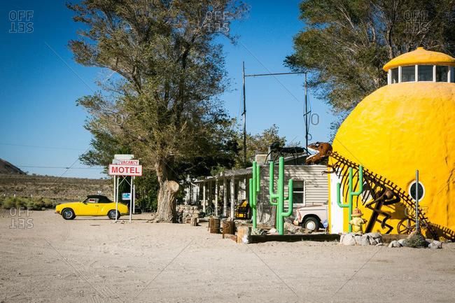 Sierra Nevada, California, USA - October 3, 2015: Roadside motel and sculptures in California