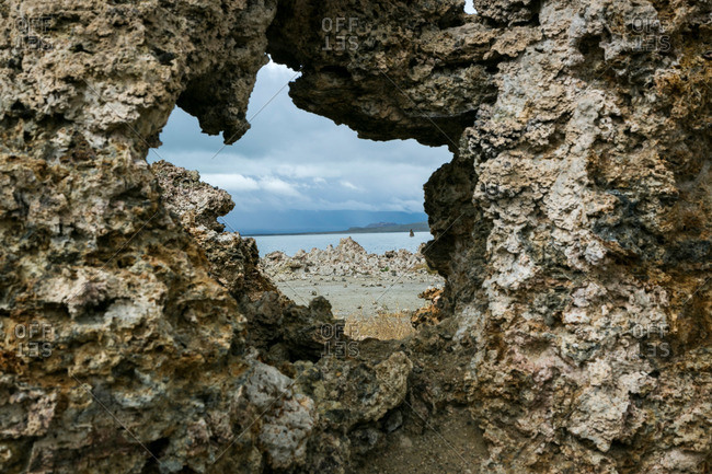 Tufa rock formations in Mono Lake, California