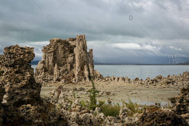 Limestone formations in Mono Lake, California
