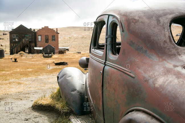 Buildings and car in California ghost town