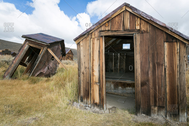 Abandoned shed and outhouse in ghost town