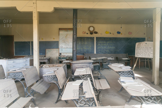 Abandoned school house interior in California ghost town