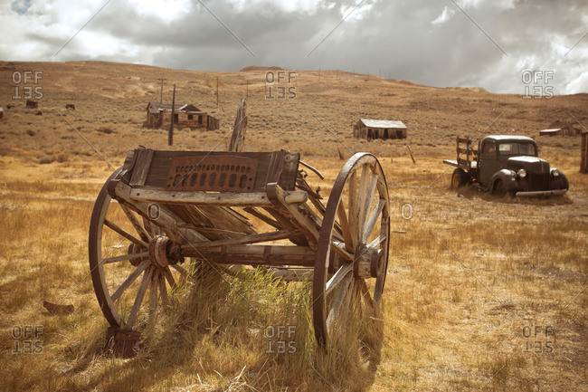 Wagon in abandoned mining town in California