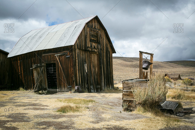 Barn and well in California Ghost town