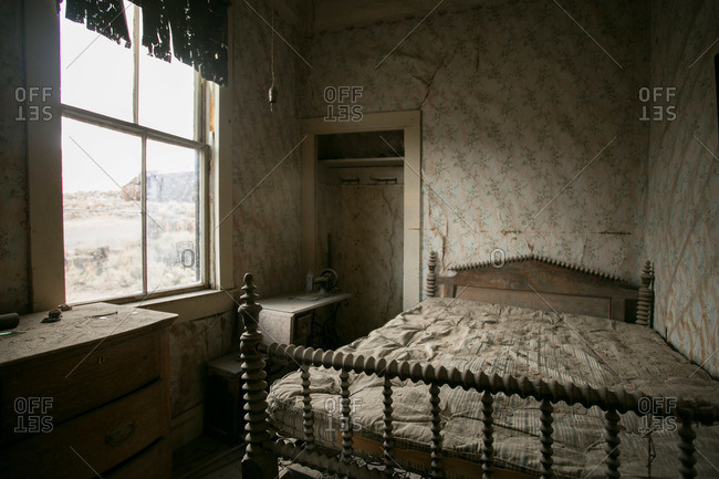 Bedroom in abandoned mining town house