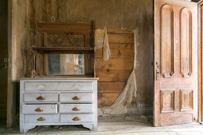 Old hutch in abandoned mining town house