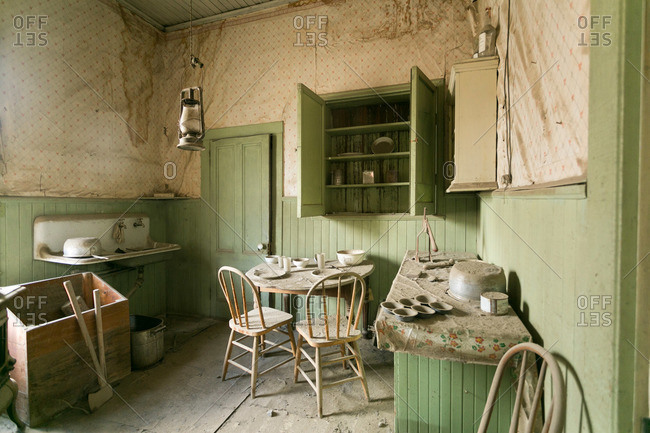 Kitchen in abandoned mining town house in California