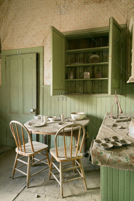 Kitchen of abandoned mining town house in California