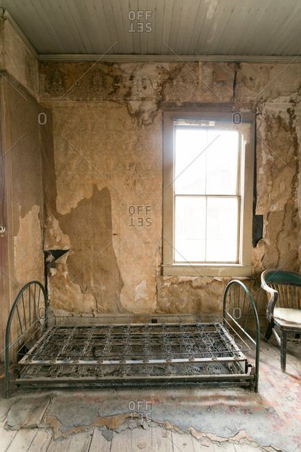Bedroom of abandoned mining town house