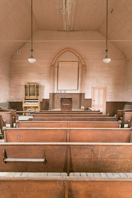 Interior of church in ghost town