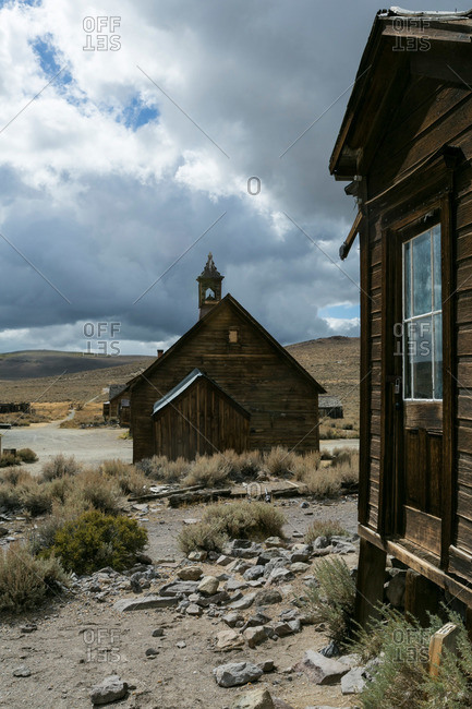 Crumbling buildings of California ghost town