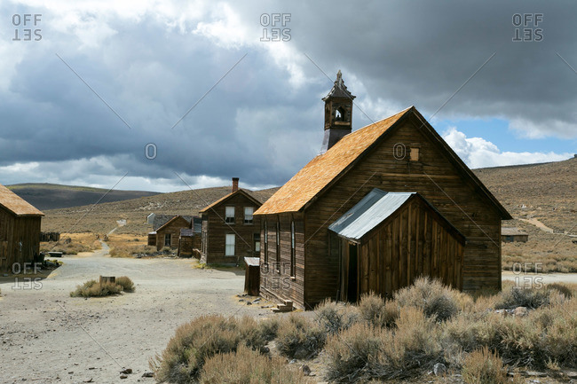 Church and houses in California ghost town