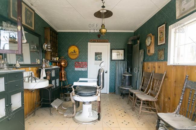 Randsberg, California, USA - October 6, 2015: Old barbershop interior in Randsberg, California