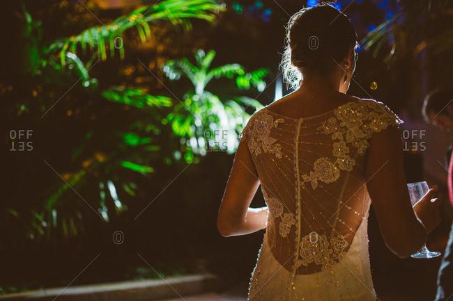 Back detail of a bride's wedding dress