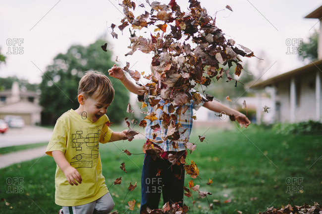 Brothers throwing fall leaves in the air
