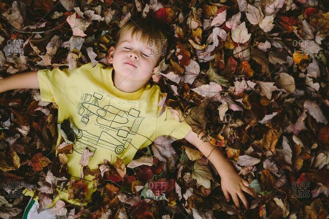 Little boy lying in a pile of fall leaves