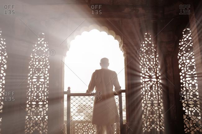 Uttar Pradesh, India - October 21, 2011: Man in Agra Fort in India