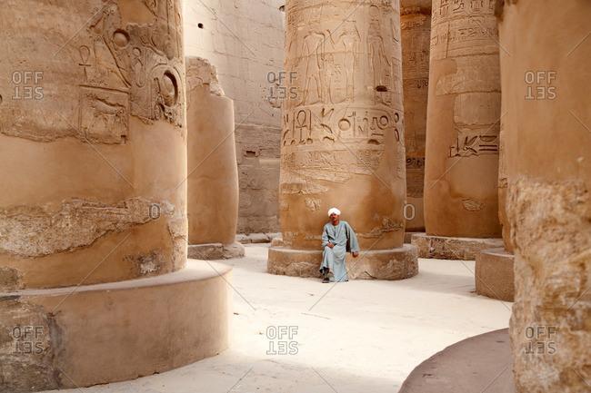 Man in Karnak Temple in Egypt