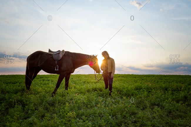 Female standing by horse in a meadow