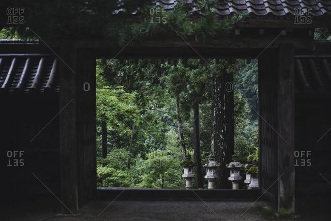 View through pavilion at Mount Takao, Tokyo, Japan