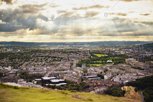 Cityscape view from Arthur's Seat of Edinburgh, Scotland