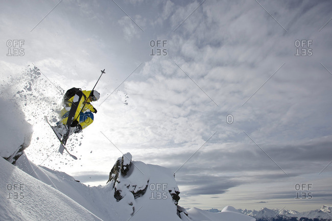 Freerider jumping, Chandolin, Anniviers, Valais, Switzerland