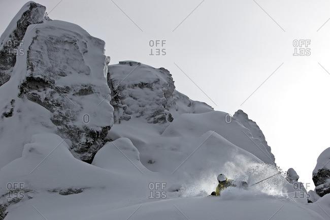 Freerider in deep snow, Chandolin, Anniviers, Valais, Switzerland