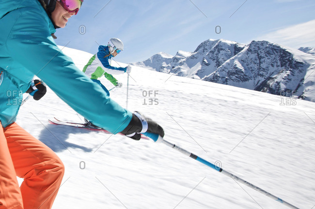 Young women skiing on a slope, See, Tyrol, Austria