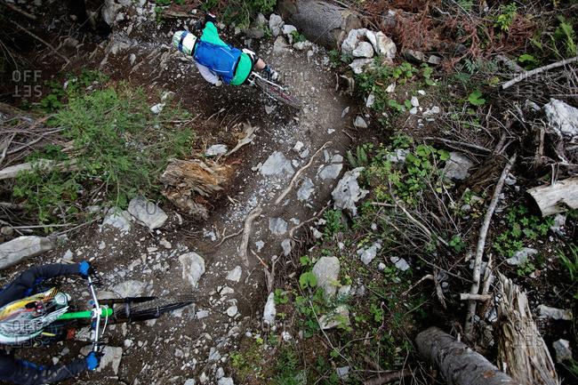 Two freeride mountain bikers off-roading, Chatel, Haute-Savoie, France