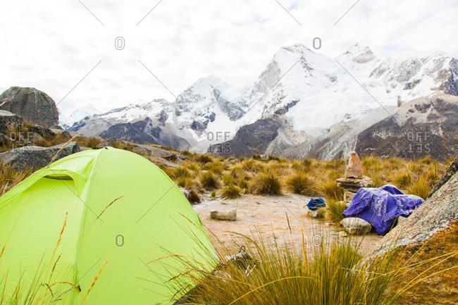 Tent in front of Huandoy massif, Paron Valley, Caraz, Huaraz, Ancash, Cordillera Blanca, Peru