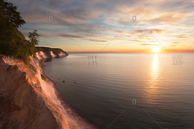 Chalk cliffs at sunrise, Jasmund National Park, Ruegen island, Baltic Sea, Mecklenburg Western-Pomerania, Germany
