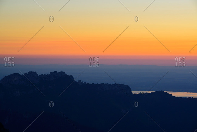 View from mount Geigelstein to Kampenwand and lake Chiemsee, Chiemgau Alps, Chiemgau, Upper Bavaria, Bavaria, Germany
