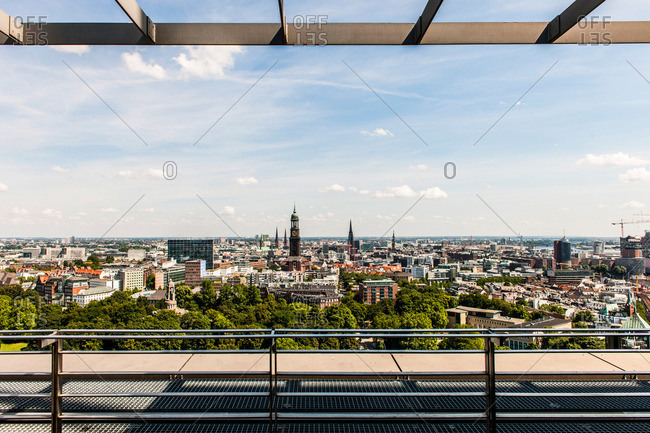 View to the church of St. Michael and other churches in Hamburg, Hamburg, Germany