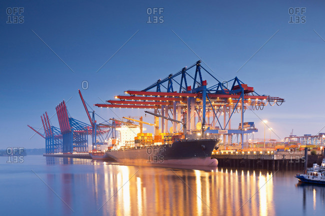 Container ships in the morning light, Hamburg Harbour, Hamburg, Germany