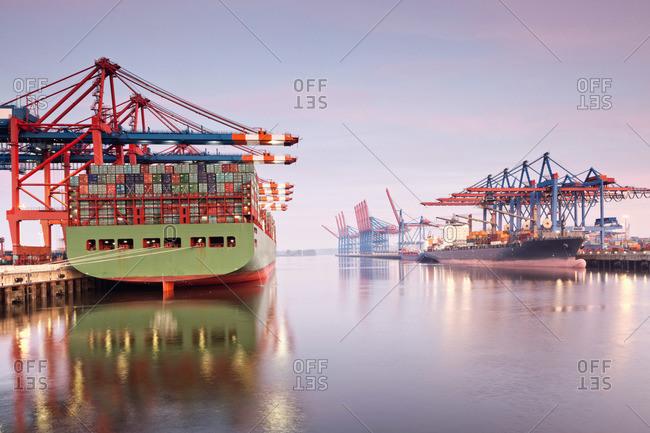 Container ships, Hamburg Harbour, Hamburg, Germany