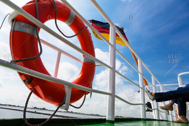 Ferry boat to Langeoog Island, Langeoog Island, Nationalpark, North Sea, East Frisian Islands, East Frisia, Lower Saxony, Germany
