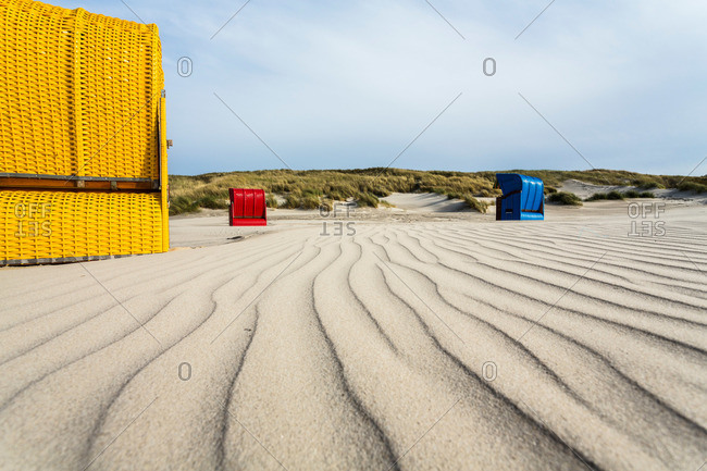 Beach chairs at the beach, Juist Island, North Sea, East Frisian Islands, East Frisia, Lower Saxony, Germany