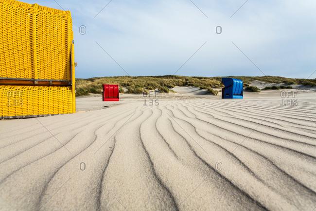 Beach chairs at the beach, Juist Island, North Sea, East Frisian Islands, East Frisia, Lower Saxony, Germany
