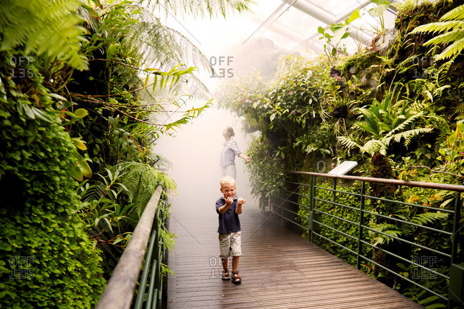 Mother and son inside a tropical greenhouse, Botanic Gardens, Singapore