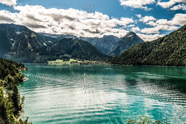 View over Lake Achensee to Pertisau and Karwendel cable car, Achenkirch, Tyrol, Austria