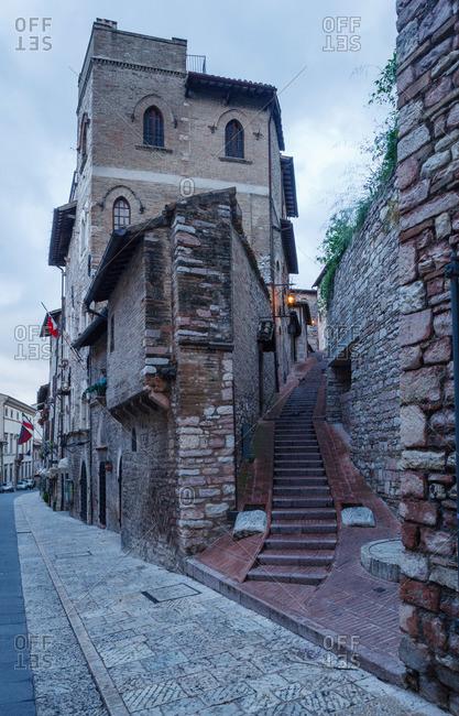Steps in a alley from Via de San Francesco, Assisi, UNESCO World Heritage Site, Via Francigena di San Francesco, St. Francis Way, Assisi, province of Perugia, Umbria, Italy
