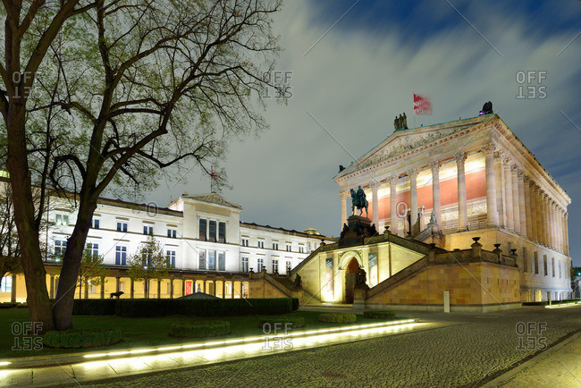 Berlin, Germany - November 1, 2013: Illuminated building the Alte Nationalgalerie art gallery in the evening light, Museumsinsel, UNESCO World Heritage Site Museumsinsel in Berlin, Berlin, Germany