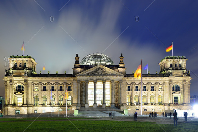 Berlin, Germany - November 2, 2013: Illuminated building of German Reichstag in the evening, Berlin, Germany